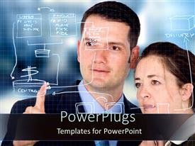 PowerPlugs: PowerPoint template with two office workers planning from production to delivery stage