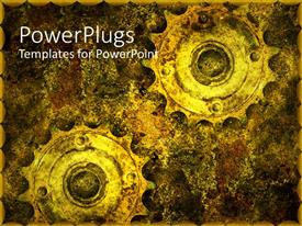 PowerPlugs: PowerPoint template with two old grunge gears in abstract background
