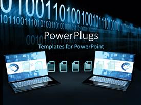 PowerPlugs: PowerPoint template with two open laptops transferring files below string of binary numbers