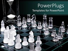PowerPoint template displaying two opposite players of the chess with timer background