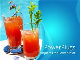 PowerPoint template displaying two orange cocktails with ice in blue background