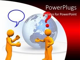 PowerPlugs: PowerPoint template with two orange figures with question mark and conversation bubble in front of gray globe