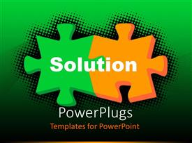 PowerPlugs: PowerPoint template with two orange and green colored chess pieces on a green background