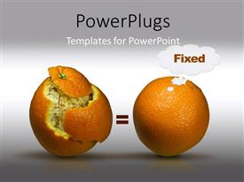 PowerPlugs: PowerPoint template with two oranges one with pealed skin and greyish background