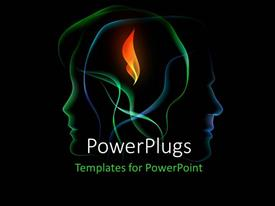 PowerPoint template displaying two overlapping human head outlines with orange flame in center