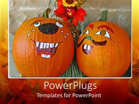 PowerPlugs: PowerPoint template with two Painted Halloween pumpkins with a bunch of flowers