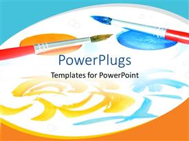 PowerPlugs: PowerPoint template with two painting brushes on painting paper and paint on white paper
