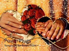 PowerPlugs: PowerPoint template with two pair of hands with newly wed wedding rings