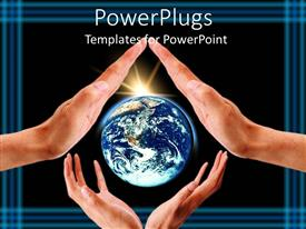 PowerPlugs: PowerPoint template with two pairs of hands with a bright shinning globe