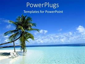 PowerPlugs: PowerPoint template with two palm trees on a white beach with chairs in blue ocean island as a metaphor