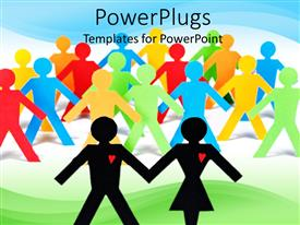 PowerPoint template displaying two paper cut lovers with lots of colorful ones behind them