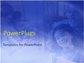 PowerPlugs: PowerPoint template with two parents with their kids smiling happily and reading