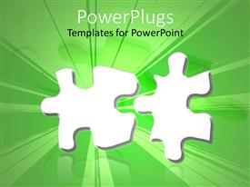 PowerPlugs: PowerPoint template with two parts of the jigsaw puzzle with green background