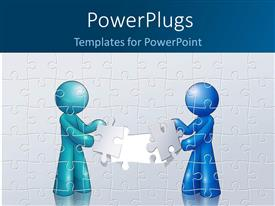 PowerPlugs: PowerPoint template with two people assembling a puzzle with wall