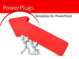 PowerPlugs: PowerPoint template with two people carrying an arrow with white background