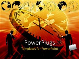 PowerPlugs: PowerPoint template with two people with a clock and a number of clocks in background