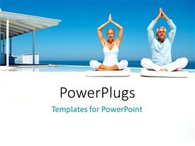 PowerPlugs: PowerPoint template with two people doing yoqa with sky in the background