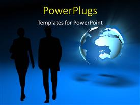 PowerPlugs: PowerPoint template with two people with globe in the background