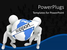 PowerPlugs: PowerPoint template with two people with a globe and blackish background