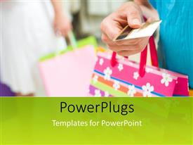 PowerPoint template displaying two people holding colorful shopping bags and a credit card