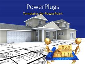 PowerPlugs: PowerPoint template with two people holding the house design with house in the background