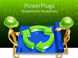 PowerPlugs: PowerPoint template with two people holding the recycle sign