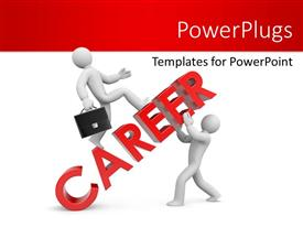 PowerPlugs: PowerPoint template with two people holding the word career