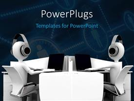 PowerPlugs: PowerPoint template with two people listening to music with a dark background
