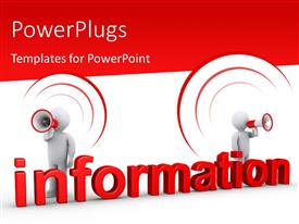 PowerPlugs: PowerPoint template with two people with the megaphones and reddish background
