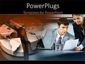 PowerPlugs: PowerPoint template with two people in the office with a globe in the background