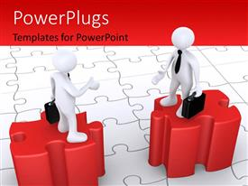 PowerPlugs: PowerPoint template with two people on the puzzle pieces with jigsaw puzzle in background