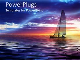 PowerPlugs: PowerPoint template with two people sailing sailboat on calm waters at sunset