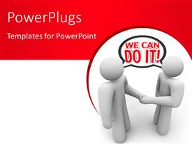 PowerPlugs: PowerPoint template with two people shake hands and say with a speech bubble We Can Do It