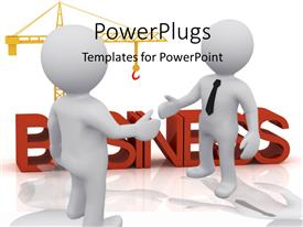 PowerPlugs: PowerPoint template with two people shaking their hand for business purposes