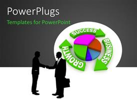 PowerPlugs: PowerPoint template with two people shaking their hands with grayish background