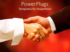 PowerPoint template displaying two people shaking their hands with red background