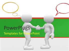 PowerPlugs: PowerPoint template with two 3D men shake hands with speech bubbles on white background