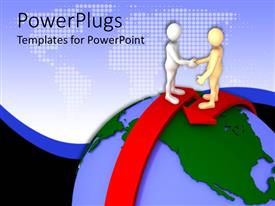 PowerPoint template displaying two people shaking their hands on top of the globe