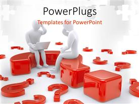 PowerPlugs: PowerPoint template with two people sitting on question mark with a number of question marks in the background