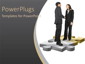 PowerPlugs: PowerPoint template with two people solving the puzzle and thanking each other
