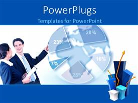 PowerPoint template displaying two people standing and looking a blue colored pie chart