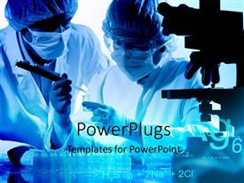 PowerPoint template displaying two people in surgical outfits looking at samples in a laboratory