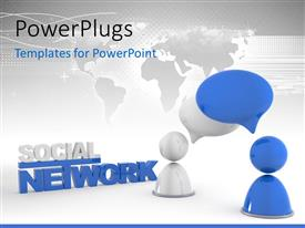 PowerPlugs: PowerPoint template with two people thinking about social network and map in the background