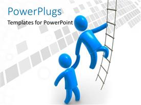 PowerPlugs: PowerPoint template with two people try to get on the ladder