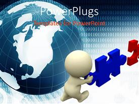 PowerPlugs: PowerPoint template with two people trying to combine two puzzle pieces with Earth in the background