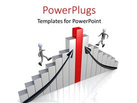 PowerPlugs: PowerPoint template with two people trying to reach the tob of the table