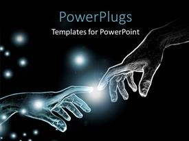 PowerPlugs: PowerPoint template with two people trying to touch their fingers with each other