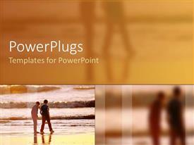 PowerPlugs: PowerPoint template with two people walking on beach as waves break