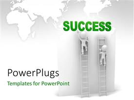 PowerPlugs: PowerPoint template with two person climbing the ladders with map in the background