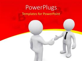 PowerPoint template displaying two person shaking hands with each other